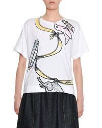 Marni - Ribbon & Charms Large-print Cotton Crewneck T-shirt - Lyst