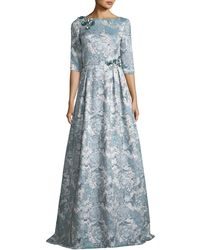 THEIA - Half-sleeve Floral Embellished A-line Gown - Lyst