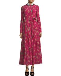 Valentino - Lotus-print Silk Gown With Removable Collar - Lyst