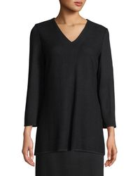 Misook - V-neck 3/4-sleeve Wool-blend Sweater - Lyst