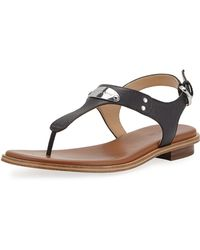 96ece153d5ec Lyst - MICHAEL Michael Kors Logo-Plate Leather Thong Sandals in Gray