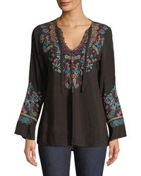 Johnny Was - Sheesoh Georgette Blouse W/ Embroidery - Lyst