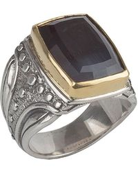 Konstantino - Men's Sterling Silver & 18k Gold Square Ring With Hawk's Eye - Lyst