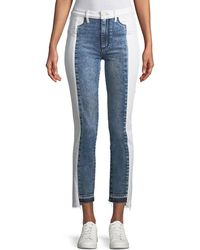 PAIGE - Hoxton Two-tone Straight-leg Cropped Jeans - Lyst