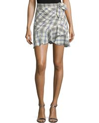Veronica Beard - Kaia Tie-waist Plaid Mini Skirt - Lyst
