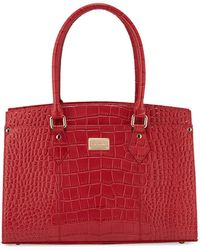St. John - Crocodile-embossed Leather Work Tote Bag - Lyst