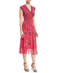 Fuzzi - Cap-sleeve Floral-print Dress With Reversible Neckline - Lyst