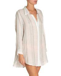 62d7868b4c681 Lyst - Carmen Marc Valvo Long Sleeve Shirt Swimsuit Cover Up in ...