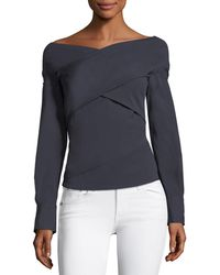 Theory - Bateau-neck Wrapped Stretch-cotton Top - Lyst