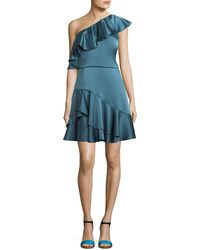 Halston - One-shoulder Ruffled Satin Cocktail Dress - Lyst