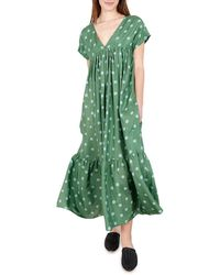 WHIT - Gillian Polka Dot Short-sleeve Maxi Dress - Lyst