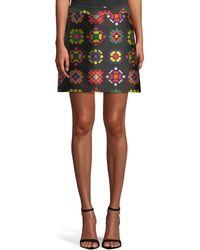 MILLY - Geometric-jacquard A-line Mini Skirt - Lyst
