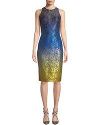 THEIA - Sleeveless Ombre Dress W/ Lace Yoke - Lyst