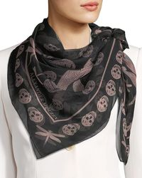 Alexander McQueen - Dragonfly & Skull Silk Scarf - Lyst