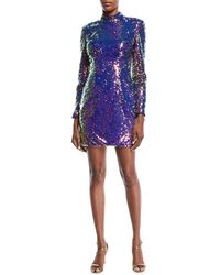 Jovani - Long-sleeve Sequin Short Cocktail Dress W/ Cutout Back - Lyst