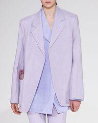 42cf34c8143c Victoria Beckham - Notched-lapels Open-front Menswear-inspired Blazer - Lyst
