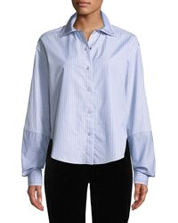 Piazza Sempione - Button-front Big-sleeve Striped Shirt W/ Plaid Collar - Lyst
