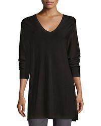 Eileen Fisher - Crisp Cotton Links Long-sleeve V-neck Tunic - Lyst