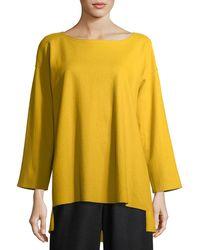 Eileen Fisher - Bateau-neck Boiled Wool Jersey Top - Lyst