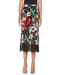 Valentino - Semisheer Carpet-embroidered Pencil Skirt With Lace Hem - Lyst