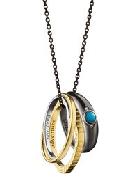 "Monica Rich Kosann - 18k Yellow Gold And Sterling Silver ""adventure"" Poesy Ring Necklace - Lyst"