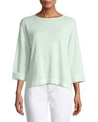 Eileen Fisher - 3/4-sleeve Organic Linen Sweater - Lyst