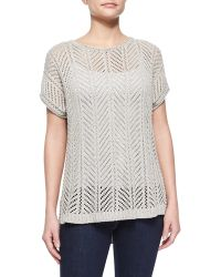 Belford - Short-sleeve Knit Pointelle Popover Top - Lyst