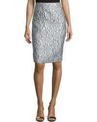 Teri Jon - Floral Brocade Pencil Skirt - Lyst
