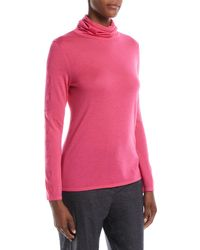 ESCADA - Cowl-neck Long-sleeve Cashmere Heart-pointelle Sweater - Lyst