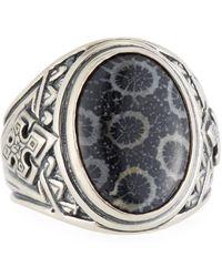 Konstantino - Heonos Men's Oval Black Coral Ring - Lyst