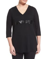 Marina Rinaldi - Vento 3/4-sleeve Jersey Tunic W/ Leatherette Inset - Lyst