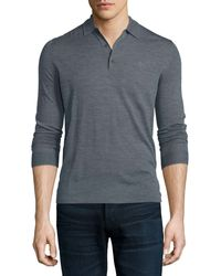 Burberry Brit - Launton Long-sleeve Knit Polo Shirt - Lyst