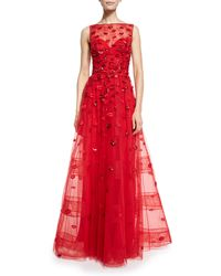 Zuhair Murad - Lip-appliqué Sleeveless Illusion Gown - Lyst