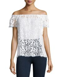 Hiche - Off-the-shoulder Crochet Lace Top - Lyst