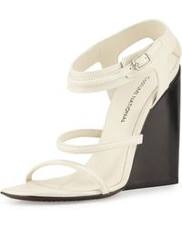 CoSTUME NATIONAL - Strappy Leather Wedge Sandal - Lyst