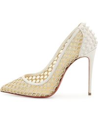 Christian louboutin Guni Mesh Spike 55mm Red Sole Pump in Beige ...