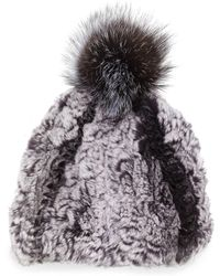 GP Luxe - Knitted Fur Pom-pom Hat - Lyst