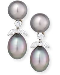Assael - 18k Tahitian Pearl & Diamond Double-drop Earrings - Lyst