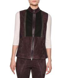 Callens - Suede & Leather-trim Zip-front Vest - Lyst