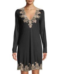 Josie Natori - Charlize Lace-trim Sleep Shirt - Lyst
