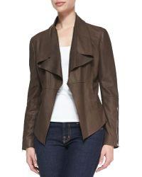 Neiman Marcus - Leather Drape-front Jacket - Lyst