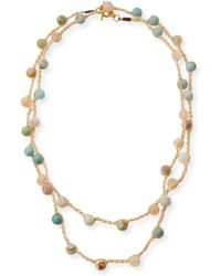 An Old Soul - Striped Turquoise Agate Crocheted Necklace - Lyst