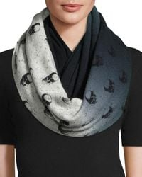 Skull Cashmere - Skull-patterned Ombre Cashmere Infinity Scarf - Lyst