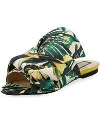 N°21 - Palm Canvas Flat Bow Slide Sandal - Lyst