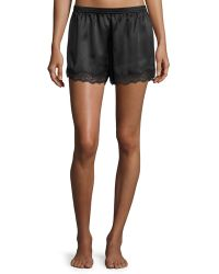 Neiman Marcus - Lace-trimmed Silk Lounge Shorts - Lyst