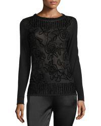 ESCADA - Chenille Crewneck Pullover Sweater - Lyst