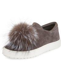 Delman - Slip-on Fur Sneakers - Lyst