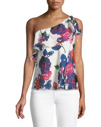 MILLY - Positano Floral-print Silk One-shoulder Top - Lyst