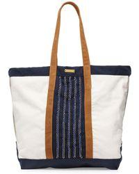 OndadeMar - Aralia Hand-embroidered Canvas Beach Tote Bag - Lyst