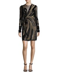 Naeem Khan - Long-sleeve Sequined Illusion Cocktail Dress - Lyst